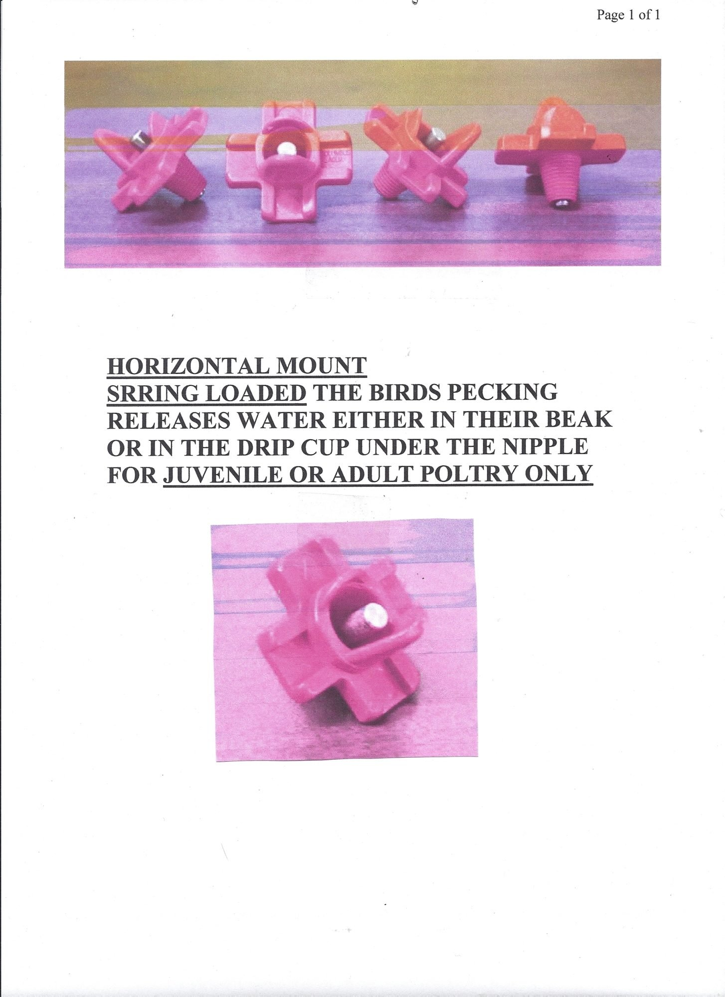 HORIZONTAL POLTRY WATERING NIPPLES
