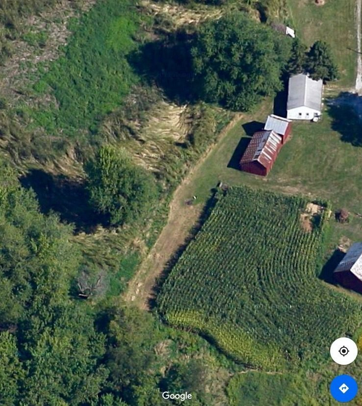 Aerial view.  Small barn (building #2 from top) chicken coop.