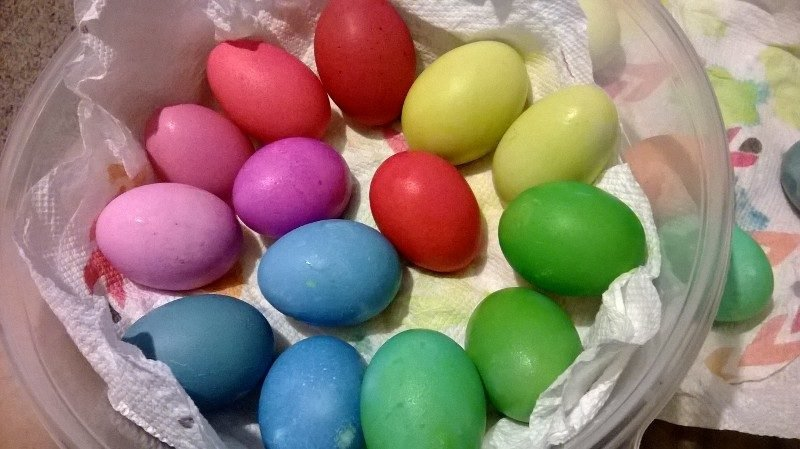 Easter eggs, some white some brown