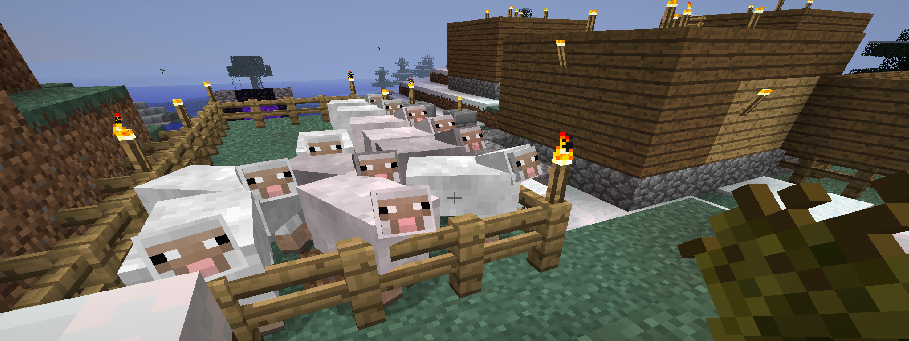 Sheepies in 1st Village wanting the Wheat