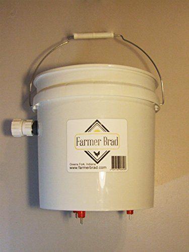 2 Gallon Automatic Filling Chicken Waterer - Poultry - Fowl Watering Bucket & Lid w/ 3 Nipples by Farmer Brad, LLC.