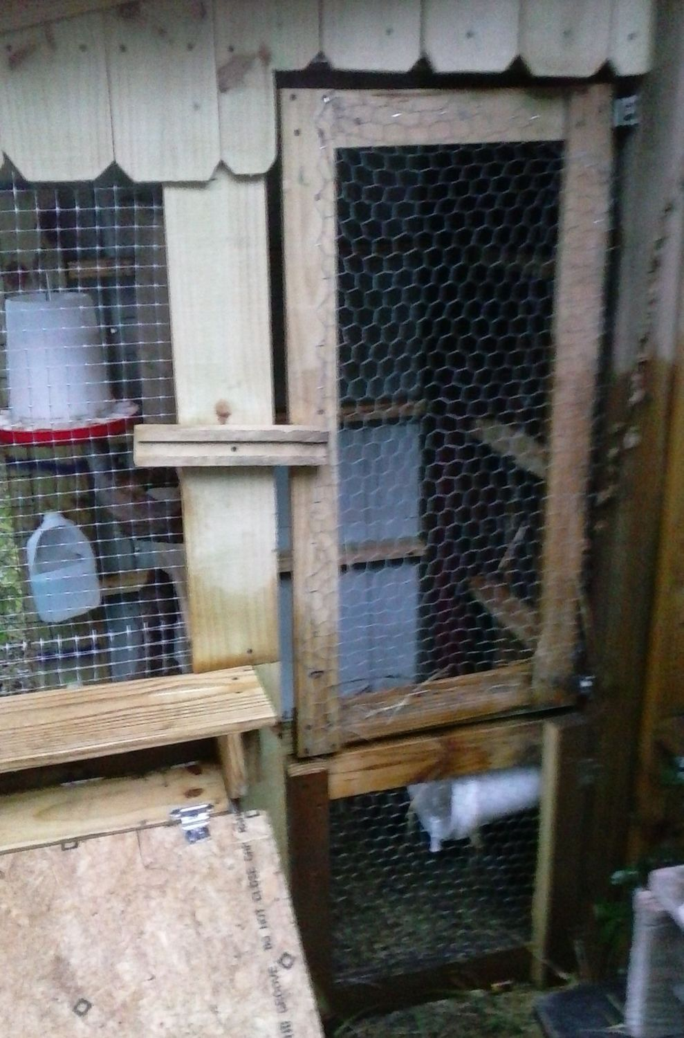 Closed cabinet coop. Now the hens just roost on the boards around the edges at night. Planning on putting some 'poop boards ' across for more standing room.