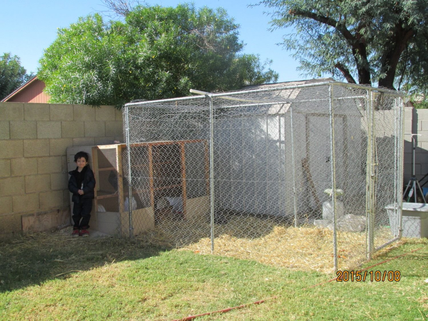 This is our coop with my kid standing next to it.