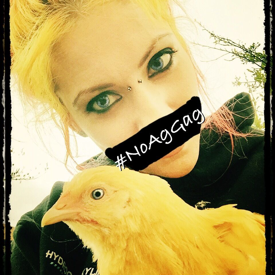 Gladys and I taking a stand against the ag gag laws. #NOAGGAG