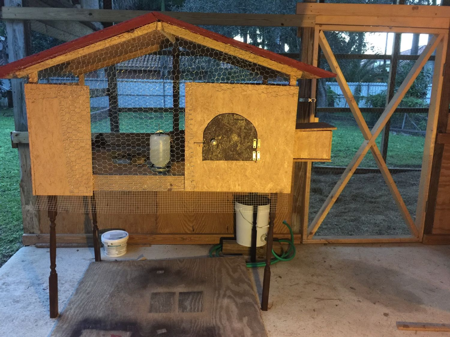 """Quail coop.   Length: 4' 7"""" Width: 3' Bottom is half inch hardware cloth Side mesh is chicken wire"""