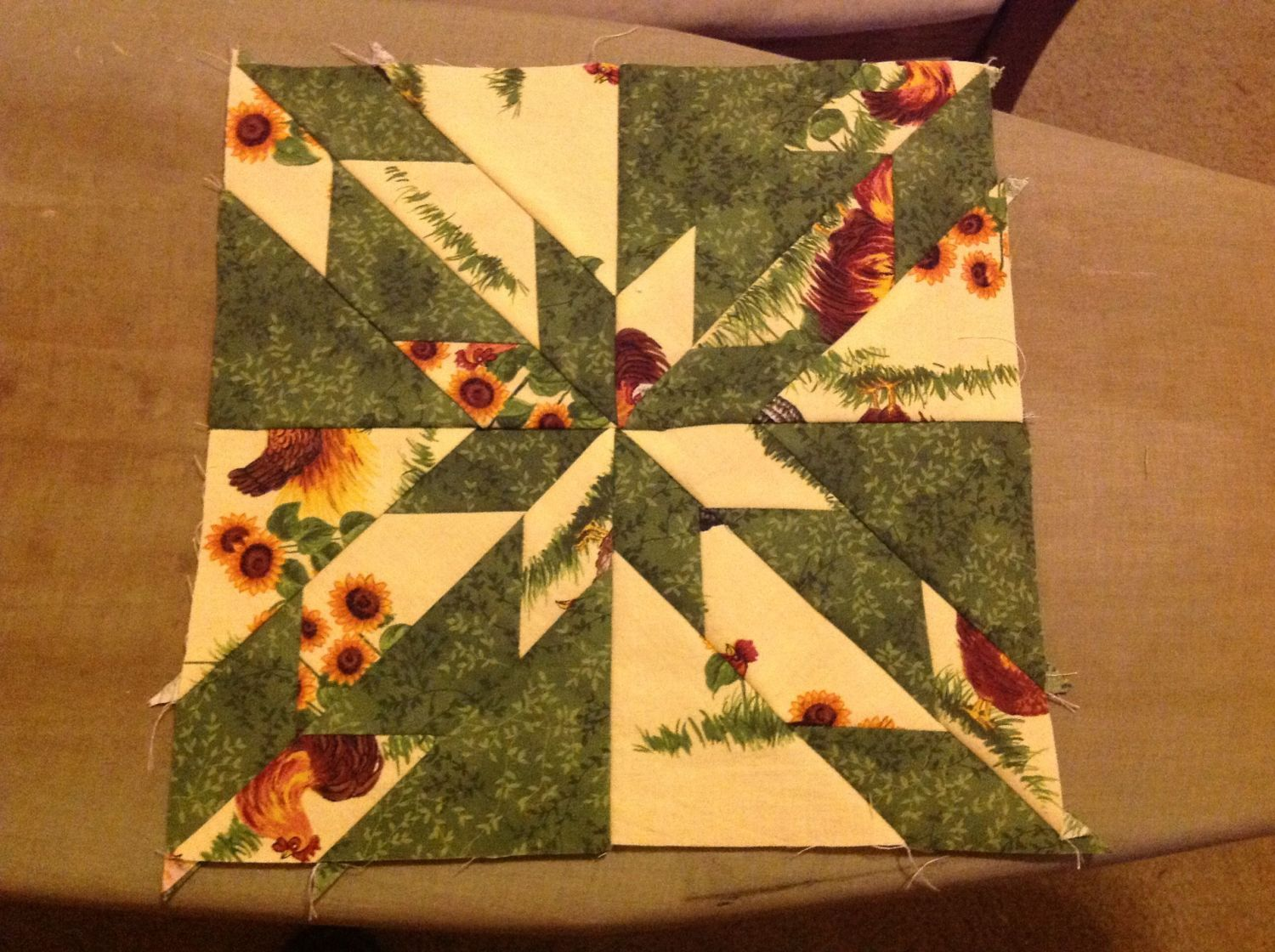 "Hunter's Star quilt block. It's a 12"" square."