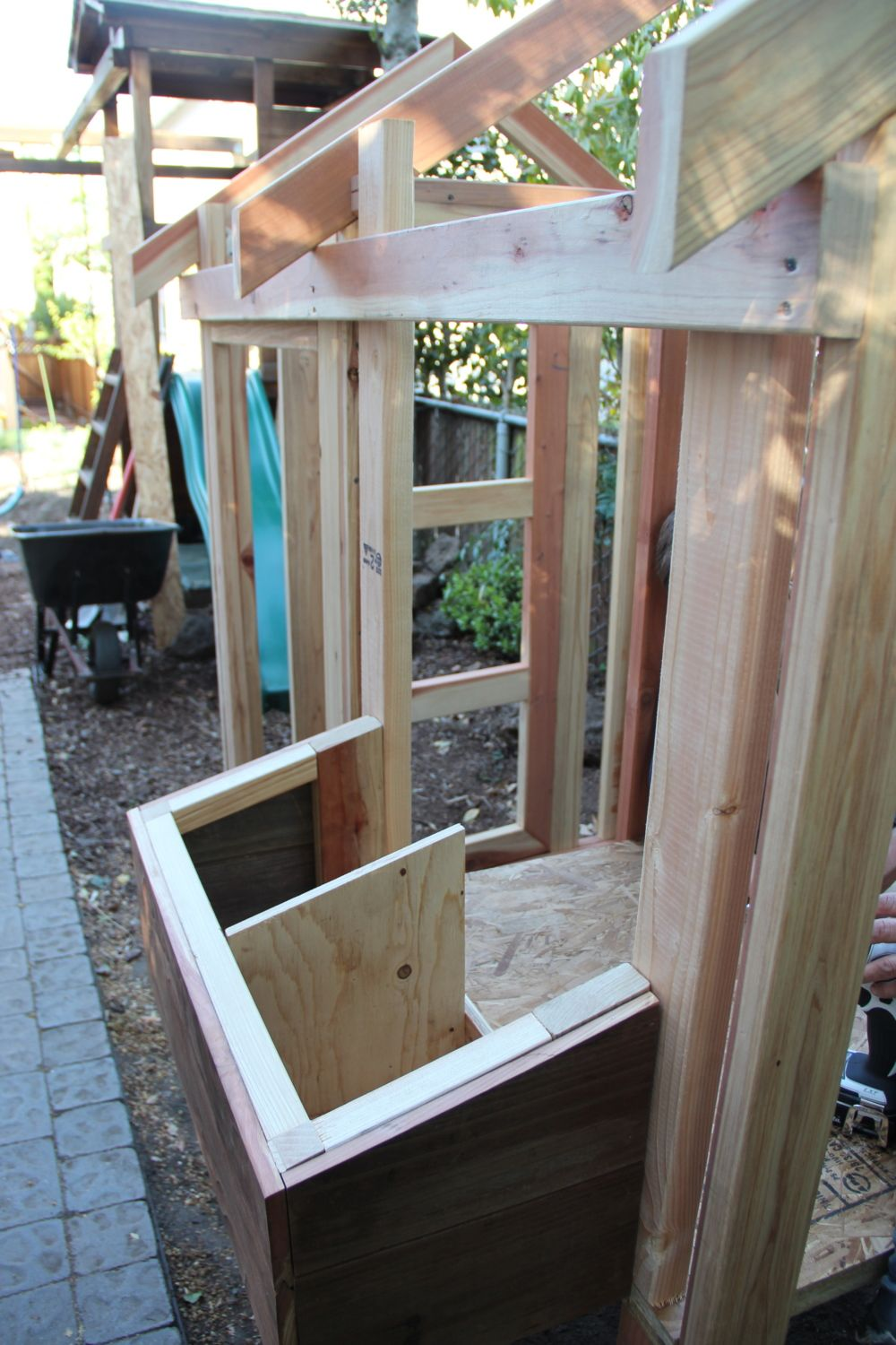 Nest box in attached to coop