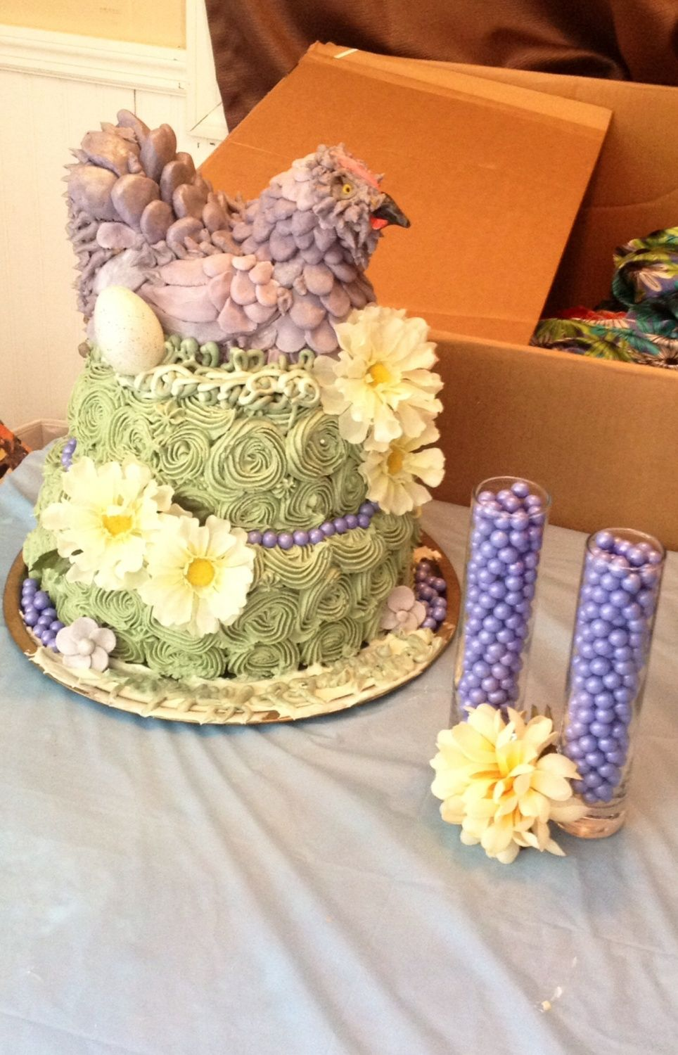 Lavender Chicken birthday cake I made. Kinda rushed the face. Wish I would have spent more time on it. Homemade fondant and gumpaste and a homemade buttercream. Was a six layer cake alternating chocolate and white layers.