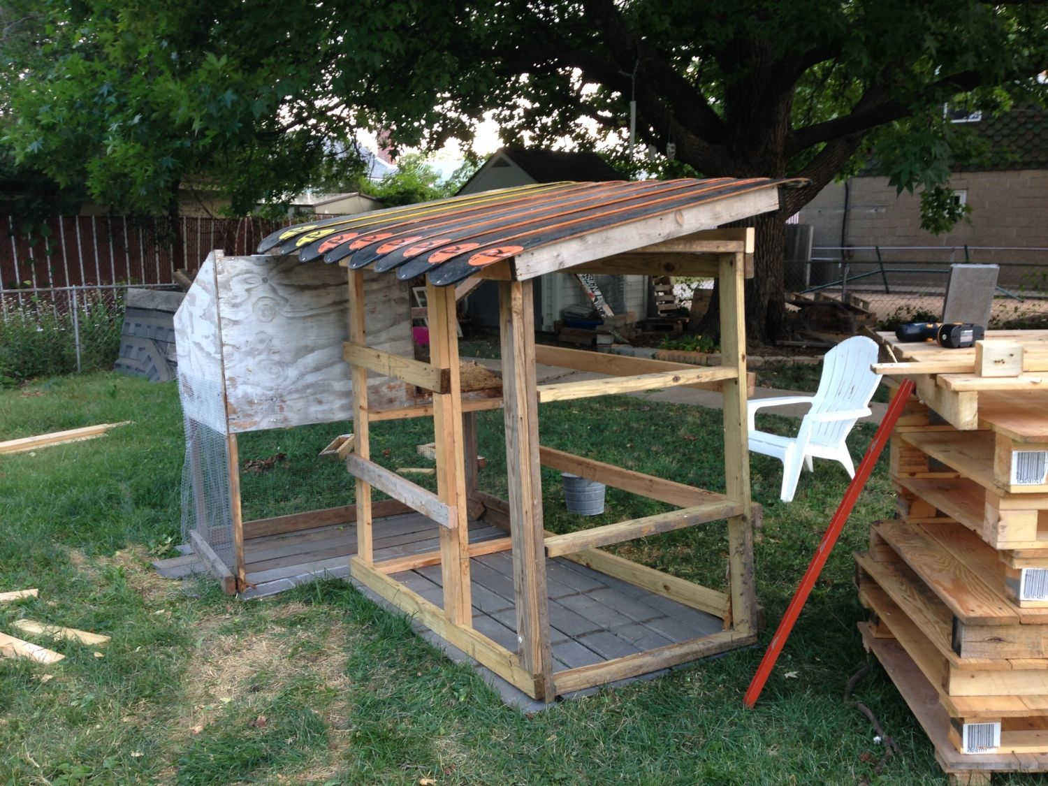Our coop in progress. Made totally out of recycled materials!