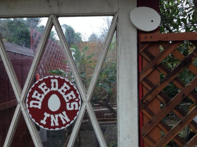 The door to the chicken yard needed a sign and an eggstraordinary latch... :0)