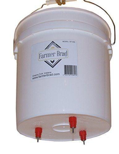 2 Gallon Chicken - Poultry - Fowl Watering Bucket & Lid w/ 3 Nipples by Farmer Brad, LLC.