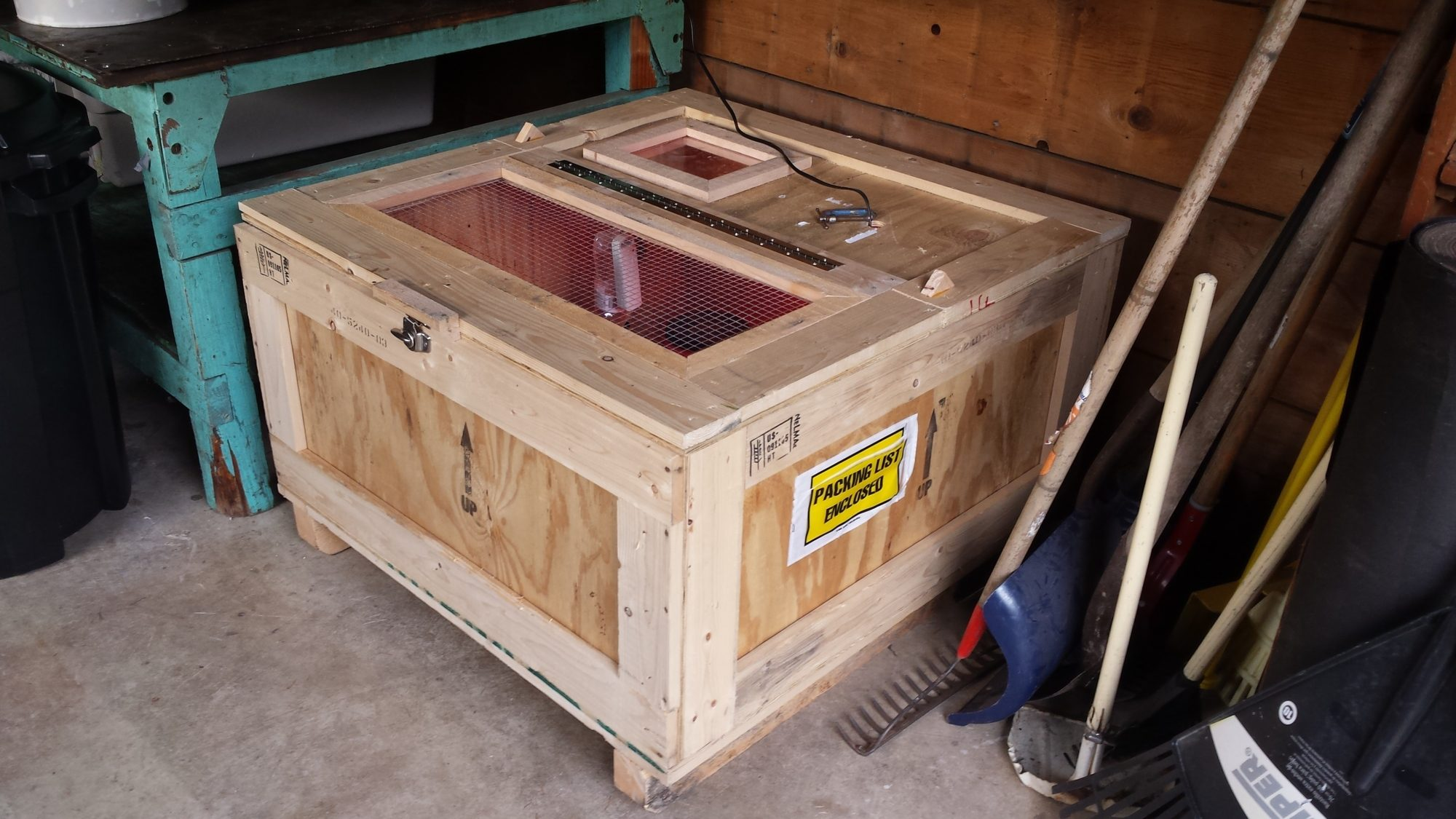Scrap, DIY Brooder from Shipping Crate