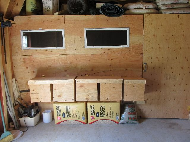 this is a pic of my nesting boxes which are on the inside of the shed area vs inside the coop area