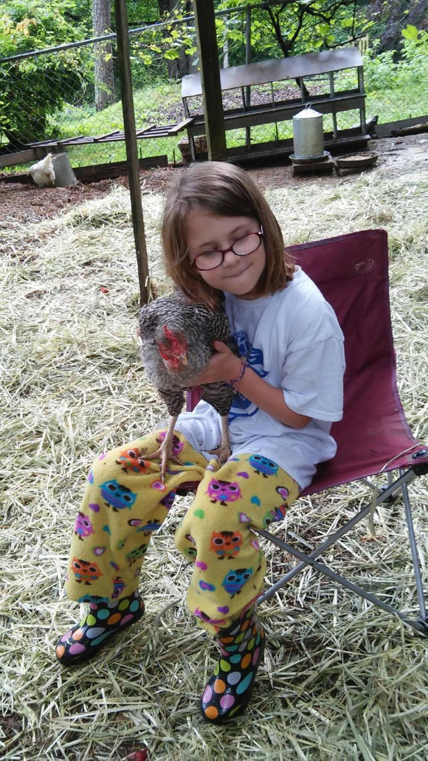 me and one of my 2 chickens