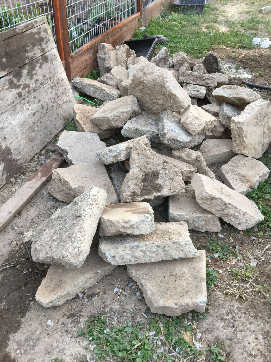 My pile o' rubble. This was someone's porch, and I got the chunks for free.